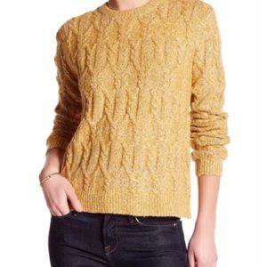 Anthro JOHN+JENN yellow cable knit sweater